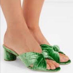 Loeffler Randall Celeste Green Velvet Knot Mules